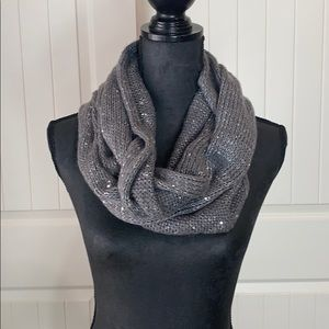 Gray Knitted Sequin Infinity Scarf